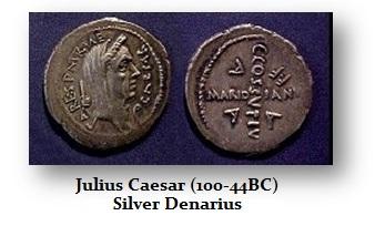 Julius Caesar-Denarius as Pontif Max