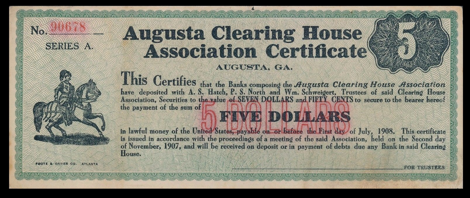 In Augusta, Georgia, The Clearing House Issued Small Denominations Of $1,  $5,