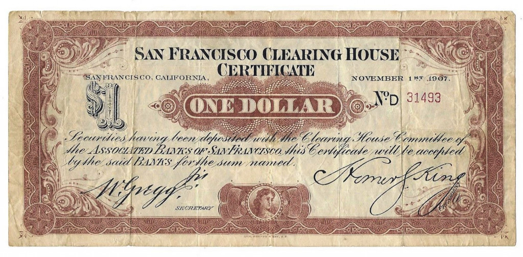1907 Clearing House Scrip San Fran