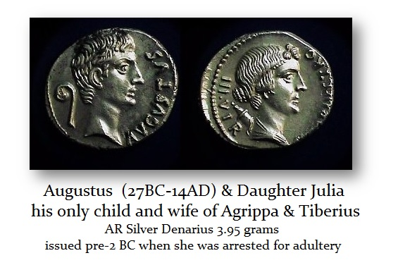 Augustus and daughter Julia Denarius